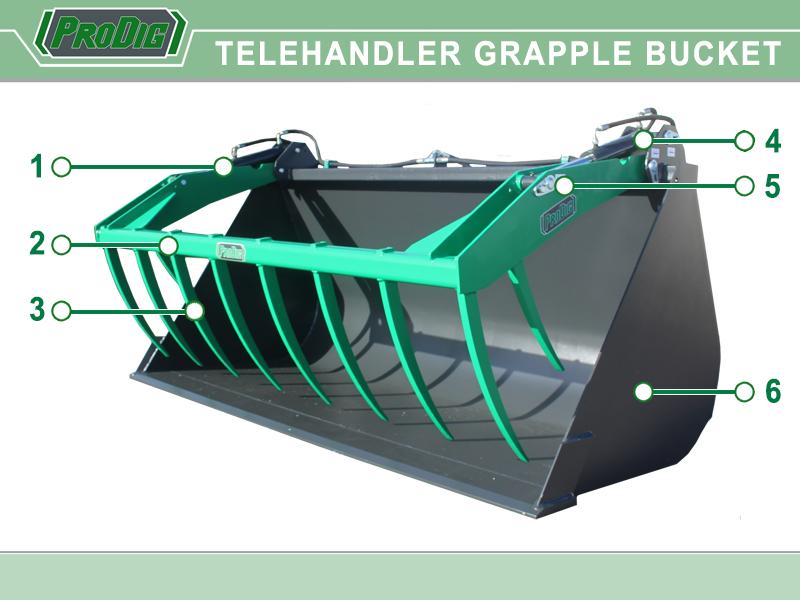 Prodig Telehandler Grapple Bucket Features