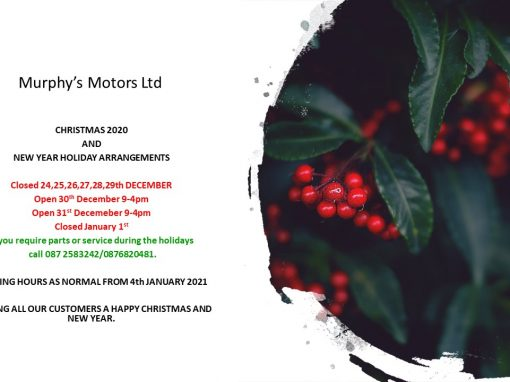 Murphy's Motors Christmas and New Year Opening Hours